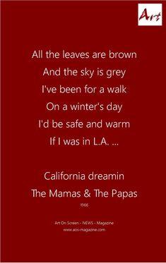 California Dreamin 1966. SIA - The Greatest. Cover Version: goo.gl/kTEjXW eine geile Interpretation.