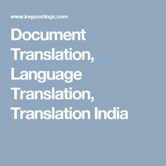 Document Translation, Language Translation, Translation India