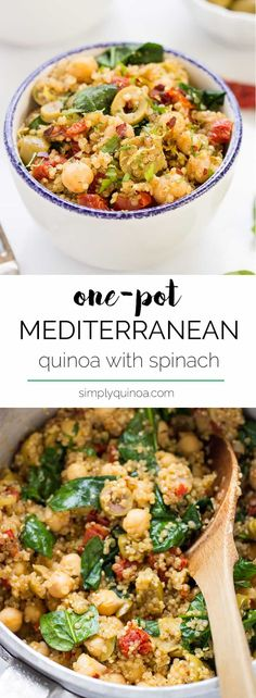 Quinoa with Spinach + Chickpeas A simple Mediterranean Quinoa made in only ONE POT with tons of flavor and healthy ingredients! [vegan]A simple Mediterranean Quinoa made in only ONE POT with tons of flavor and healthy ingredients! Veggie Recipes, Whole Food Recipes, Cooking Recipes, Spinach Recipes, Vegan Quinoa Recipes, Fast Recipes, Cooking Ideas, Quinoa Dinner Recipes, Healthy Vegetarian Dinner Recipes