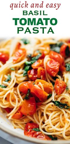 15 minute cherry tomato basil pasta - made with a handful of ingredients but packed with flavour. So perfect for vegetarian weeknight dinners. pasta dinner lunch tomatoes garlic basil via 218917231875091499 Basil Recipes, Tomato Soup Recipes, Tomato Sauce Recipe, Easy Pasta Recipes, Italian Recipes, Salad Recipes, Pasta Dinner Recipes, Cherry Tomato Pasta, Tomato Basil Pasta