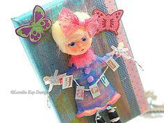 Happy Mixed Media Painting Retro Art Doll by loreliekaydesigns