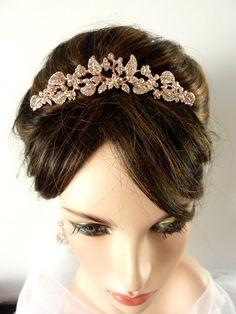 Wedding Bridal Tiara Hair Comb  Rose Plated by JCBridalJewelry