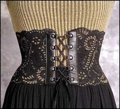Victorian inspired Black and Gold Leather and Lace Corset Belt ---  any size