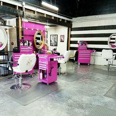 Keratin Complex Sslon. Garage. Retro. Glitter floor. Route 66. Pink tool box. Pinup salon. Black white stripe wall