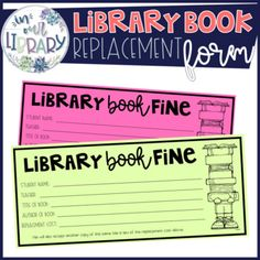 Use these forms to send home with your kiddos if they ask to replace a book that has been lost or damaged. Copy on bright paper so they stand out and will be noticed at home! School Library Lessons, Elementary School Library, Elementary Schools, Library Center, Library Work, Library Ideas, Reading Websites For Kids, Teacher Librarian, Teacher Stuff