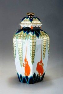 """""""Indra"""" pattern, Rosenthal urn made during the early 1920s. The Indra pattern was found on a line that included plates, vases, urns and trinket boxes. This one was designed by Kurt Wendler (1893-1980), who worked for Rosenthal from 1920 until 1930."""