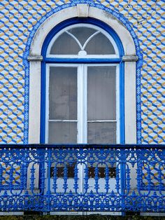 Tile façade in Largo de Marvila Santarém, Portugal.