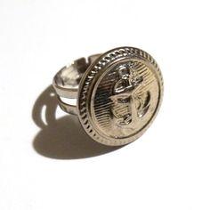 Anello con ancora tondo argentato con bottone vintage, per donna, stile marinaro, idea regalo per lei, spedizione GRATIS