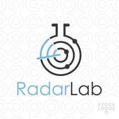 This stylized logo features a lab flask combined with a radar. The round part of the blue and grey radar replace as the liquid in the flask.
