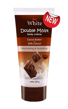 Viva White Double Moist Body Creme provides last longer moisture and takes care very dry skin. Get the benefit of Cocoa Butter maintains skin hydration and prevents dry skin, Milk Extract provides protein and nutrition for skin, UV Filter protects your skin from sun rays and Moisturizer gives extra moisture. The delicious aroma of chocolate brings comfort and luxury all day long. Sun Rays, Cocoa Butter, Dry Skin, Filter, Benefit, Protein, Moisturizer, Milk, Nutrition