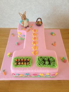 Peter rabbit themed number 1 cake. X