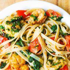 Shrimp Tomato Spinach Pasta recipe