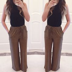 • Mika Printed Palazzo Pants Printed palazzo pants with elastic waistband. Has pockets. Perfect for the spring and summertime. 100% Rayon - feels rather silky. *Modeling size Small*  ☑️ NO trades. Price is FIRM unless bundled. ☑️ Sizes Available: Small, Medium, and Large.  *Black top is also available for purchase* Pants Wide Leg
