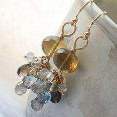 Petite gemstone cluster earrings whiskey quartz by Kianda on Etsy, £79.00