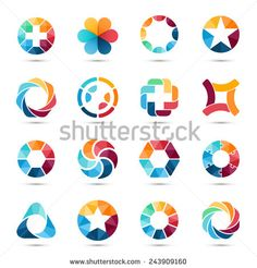 Logo templates set. Abstract circle creative signs and symbols. Circles, plus signs, stars, triangle, hexagons and other design elements.