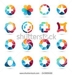 Logo templates set. Abstract circle creative signs and symbols. Circles, plus…