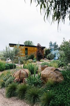 Garden Landscaping Ideas for Front and Backyard A garden which nestles into the surrounding landscape, mixing native and exotic plantings for foliage and textural interest. The use of locally sourced materials with drought hardy and frost tolerant plants. Outdoor Landscaping, Front Yard Landscaping, Outdoor Gardens, Landscaping Ideas, Landscaping Software, Backyard Ideas, Landscaping With Large Rocks, Natural Landscaping, Backyard Ponds