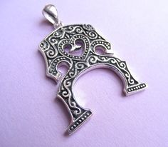Violin, viola, cello, bass bridge charm in sterling silver