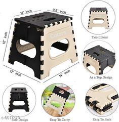 Electronic Lightings Folding Stool for Adults and Kids Bedroom & Kitchen Stool (Ivary) Stool  (Ivary, Black) Material: Plastic  Size : (L X W X H) 12 in X 11 X 9.5 Description : It Has 1 Piece Of Folding Stool Country of Origin: India Sizes Available: Free Size *Proof of Safe Delivery! Click to know on Safety Standards of Delivery Partners- https://ltl.sh/y_nZrAV3  Catalog Rating: ★4.3 (1315)  Catalog Name: Divine Home Utilities CatalogID_912478 C128-SC1314 Code: 392-6017370-