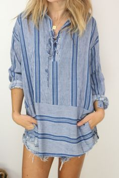 Adelle Lace up tunic / blue from ascot   hart