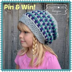 Re-Pin this photo & you could WIN a copy of CrazySocks Designs' Seattle Slouch crochet pattern!  Be sure to share your pin URL on the CSD FB page!  (ends 9/20)