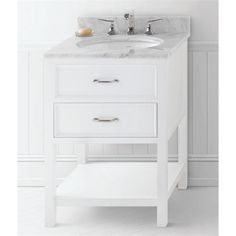 RonBow 052724-W01 Newcastle 24 Wood Vanity Cabinet with One Functional Drawer in White