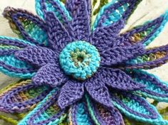 Crochet Brooch Fiber Brooch Irish Crochet Pin Daisy Brooch Peacock Purple Blue…