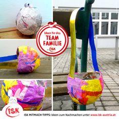 Basteln für den Ostersonntag! 🐣🐥🐤 Ein Körberl zum Einsammeln der im Garten oder in der Wohnung versteckten Eier könnt ihr ganz einfach selbst basteln!  Anleitung zum Nachmachen und 100 weitere Anregungen!  #Mitmachtipps #isk #basteltipp #osterbasteln #bastelnfürkinder #kinderbasteln  #wirbleibendaheim #stayathome #krisealschance #kreativzeit #deinteamfamilie #teamfamilie #teamösterreich #coronazeit #bleibgesund Bunt, Craft Tutorials, Eggs, Simple, Lawn And Garden