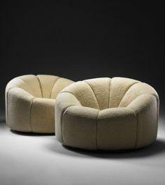 2014 - Art Basel Miami / Design - Pierre Paulin, 'Pair of Élysée Chairs,' Demisch Danant Vintage Furniture, Cool Furniture, Furniture Design, Futuristic Furniture, Plywood Furniture, Contemporary Furniture, Canapé Design, Chair Design, Design Miami