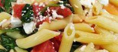 Penne pasta with broccoli, tomato and feta