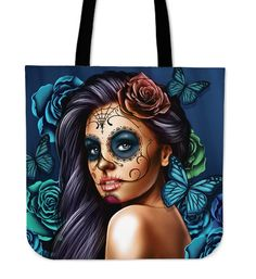 Sugar Skull Tote Bag, Day of the Dead Tote Bag, Shoulder Tote - Turquoise Printed Tote Bags, Cotton Tote Bags, Canvas Tote Bags, Calavera Tattoo, Gothic Tattoo, Purple Bags, Black Tote Bag, Turquoise, Shoes
