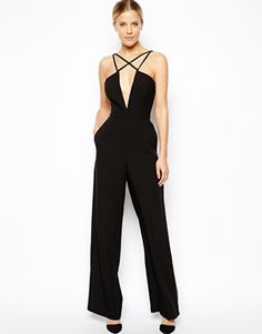 a34641c953e6 Image 1 of ASOS Jumpsuit With Spaghetti Straps Fitted Jumpsuit