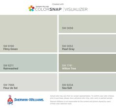 I found these colors with ColorSnap® Visualizer for iPhone by Sherwin-Williams: Silver Strand (SW Magnetic Gray (SW Agreeable Gray (SW Misty (SW Samovar Silver (SW Alabaster (SW Dorian Gray (SW Kiosk Design, Booth Design, Interior Paint Colors, Paint Colors For Home, Paint Colours, Sherwin Williams Grau, Sherwin Williams Lazy Gray, Morning Fog Sherwin Williams, Sherwin Williams Greek Villa