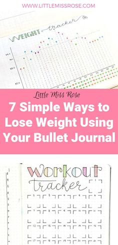 Find out how you can use your bullet journal to lose weight with this 7 simple tips and tricks for losing weight. Bullet Journal To Lose Weight, Bullet Journal Health, Bullet Journal Workout, Bullet Journal Tracker, Bullet Journal Hacks, Bullet Journal Layout, Bullet Journal Inspiration, Bullet Journals, Bullet Journal How To Start A Simple
