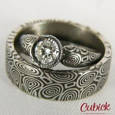Deluxir wedding rings with big diamond/Wedding bands/Damascus steel wedding rings/Womans ring/Damast Wedding Ring Hand, Unusual Wedding Rings, Curved Wedding Band, Wedding Rings For Women, Diamond Wedding Bands, Damascus Ring, Damascus Steel, Blue Diamond Jewelry, Rose Gold Engagement Ring