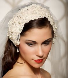 "Wedding Veil Bridal Veil Lace Cap Veil Vintage by GildedShadows instead of ""we're engaged"" peach vintage wedding Bridal Veils And Headpieces, Headpiece Wedding, Wedding Veils, Bridal Gowns, Wedding Dresses, Vintage Veils, Vintage Bridal, Bridal Hat, Hair Decorations"