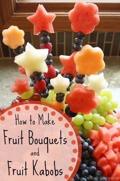 QUICK, EASY TRICK! Make any dessert tray look stunning with easy fruit bouquets! Adapt them to highlight the flavors or fruits in your dessert! Perfect with a decadent dip! So impressive!