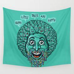 Happy Little Trees Are Happy Wall Tapestry. #illustration #humor #digital #pop-art