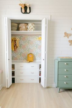 This cute little walk-in wardrobe for kids is too cute of an idea! Loving the white tones with a pop of teal drawers