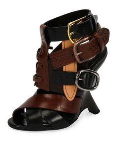 TOM FORD MULTI-STRAP 110MM WEDGE SANDAL, BLACK/BROWN. #tomford #shoes #sandals