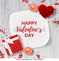 Happy Valentine's Day greeting banner. Top view on romantic composition with gift box and red case for ring. Beautiful backdrop with greeting card and candles on wooden texture. Vector illustration.