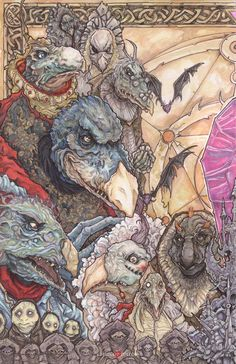 The Skeksis. 39 hours. Bristol board. Copic Markers, Prismacolor Markers and pencils, Watercolor. This piece is 100% traditional. The Brian Froud, Jim Henson, Frank Oz world has always been very sp...