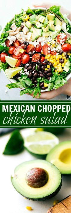 MEXICAN CHOPPED CHICKEN SALAD. An easy and delicious chopped chicken salad with the most amazing creamy cilantro-lime dressing. via http://chelseasmessyapron.com