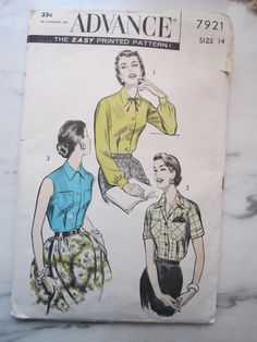 Vintage 1950s Women's Blouse Sewing Pattern Advance 7921, Women's Shirt Sz 14 B 32 by JoysinStitches on Etsy