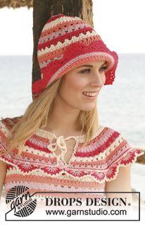 """Sombrero y top DROPS, en ganchillo / crochet, con franjas y orillas en calados en """"Safran"""". Talla: S – XXXL. ~ DROPS Design"""