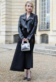 Emma Roberts wearing Bionda Castana Lace Daphne Bis Pumps, Christian Dior Pre-Fall 2014 Leather Jacket and Dior Mini Lady Dior Bag