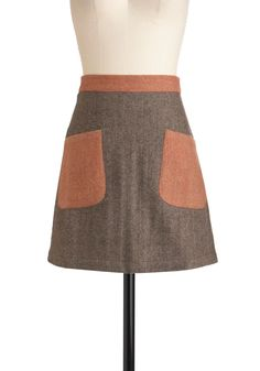 It's a New-tral Day Skirt by Knitted Dove - Short, Brown, Red, Pockets, Work, Casual, Scholastic/Collegiate, Fall