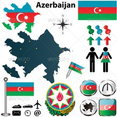 Buy Map of Azerbaijan by on GraphicRiver. Vector of Azerbaijan set with detailed country shape with region borders, flags and icons. Package contains: EPS .