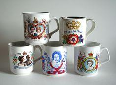 Queen Elizabeth II Silver Jubilee Souvenir Mugs