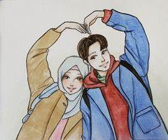 Image Couple, Cute Couple Art, Couple Pics, Couple Quotes, Couple Goals, Couple Sketch, Couple Drawings, Cute Muslim Couples, Cute Anime Couples